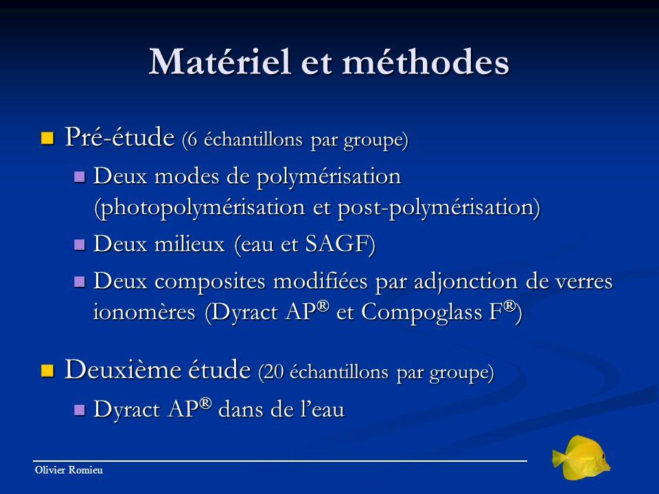 Olivier Romieu Matériel et méthodes Pré-étude (6 échantillons par groupe) Pré-étude (6 échantillons par groupe) Deux modes de polymérisation (photopol