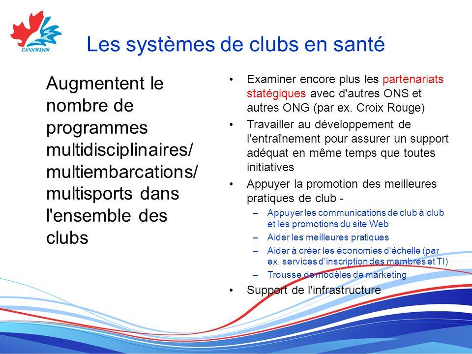 Les systèmes de clubs en santé Augmentent le nombre de programmes multidisciplinaires/ multiembarcations/ multisports dans l ensemble des clubs Examiner encore plus les partenariats statégiques avec d autres ONS et autres ONG (par ex.