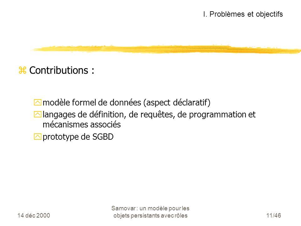 14 déc 2000 Samovar : un modèle pour les objets persistants avec rôles11/46 zContributions : ymodèle formel de données (aspect déclaratif) ylangages de définition, de requêtes, de programmation et mécanismes associés yprototype de SGBD I.