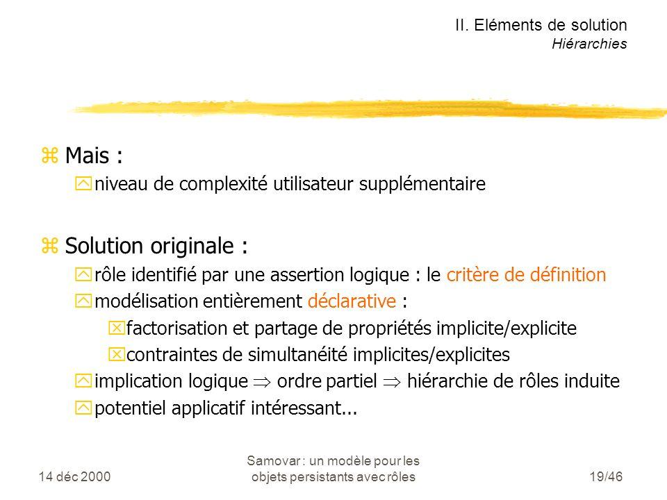 14 déc 2000 Samovar : un modèle pour les objets persistants avec rôles19/46 zMais : yniveau de complexité utilisateur supplémentaire zSolution originale : yrôle identifié par une assertion logique : le critère de définition ymodélisation entièrement déclarative : xfactorisation et partage de propriétés implicite/explicite xcontraintes de simultanéité implicites/explicites yimplication logique ordre partiel hiérarchie de rôles induite ypotentiel applicatif intéressant...