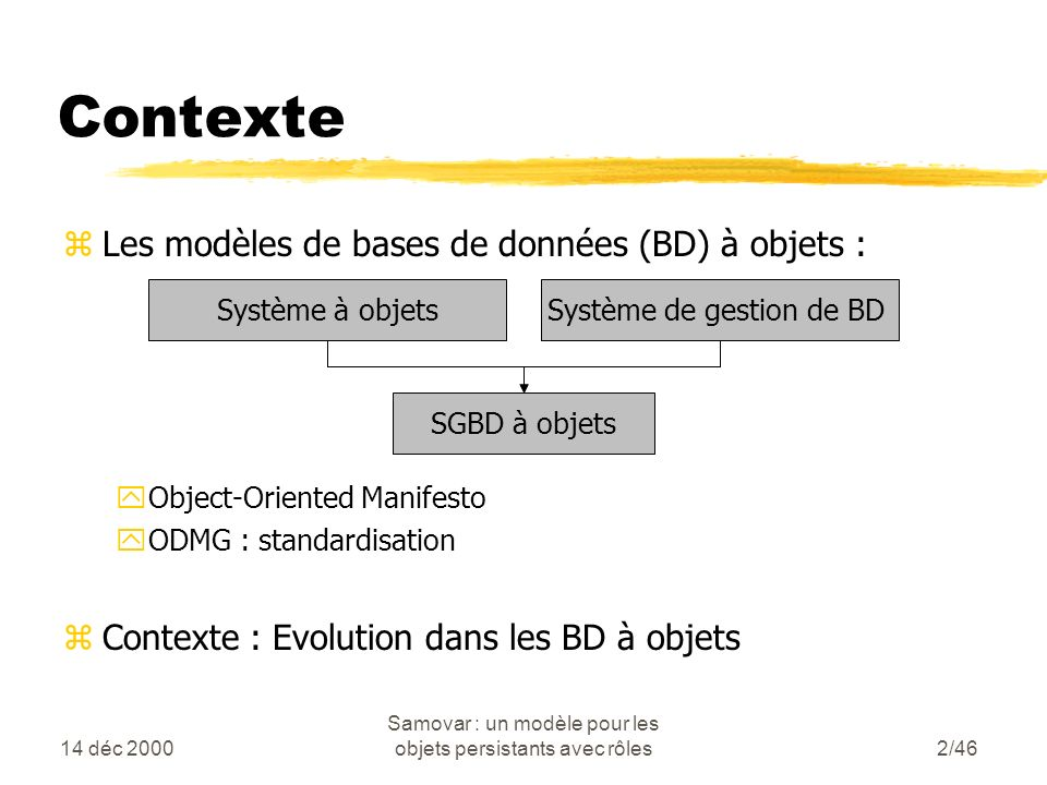 14 déc 2000 Samovar : un modèle pour les objets persistants avec rôles2/46 Contexte zLes modèles de bases de données (BD) à objets : yObject-Oriented Manifesto yODMG : standardisation zContexte : Evolution dans les BD à objets Système à objetsSystème de gestion de BD SGBD à objets