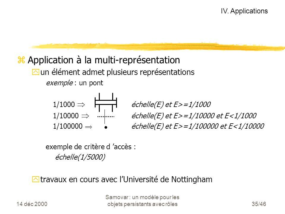 14 déc 2000 Samovar : un modèle pour les objets persistants avec rôles35/46 zApplication à la multi-représentation yun élément admet plusieurs représentations exemple : un pont 1/1000 échelle(E) et E>=1/1000 1/10000 échelle(E) et E>=1/10000 et E<1/1000 1/100000 échelle(E) et E>=1/100000 et E<1/10000 exemple de critère d accès : échelle(1/5000) ytravaux en cours avec lUniversité de Nottingham IV.
