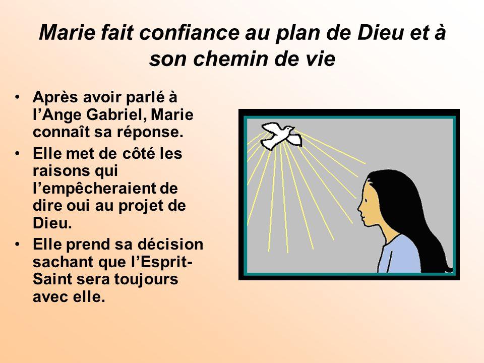 Marie fait confiance au plan de Dieu et à son chemin de vie Après avoir parlé à lAnge Gabriel, Marie connaît sa réponse. Elle met de côté les raisons