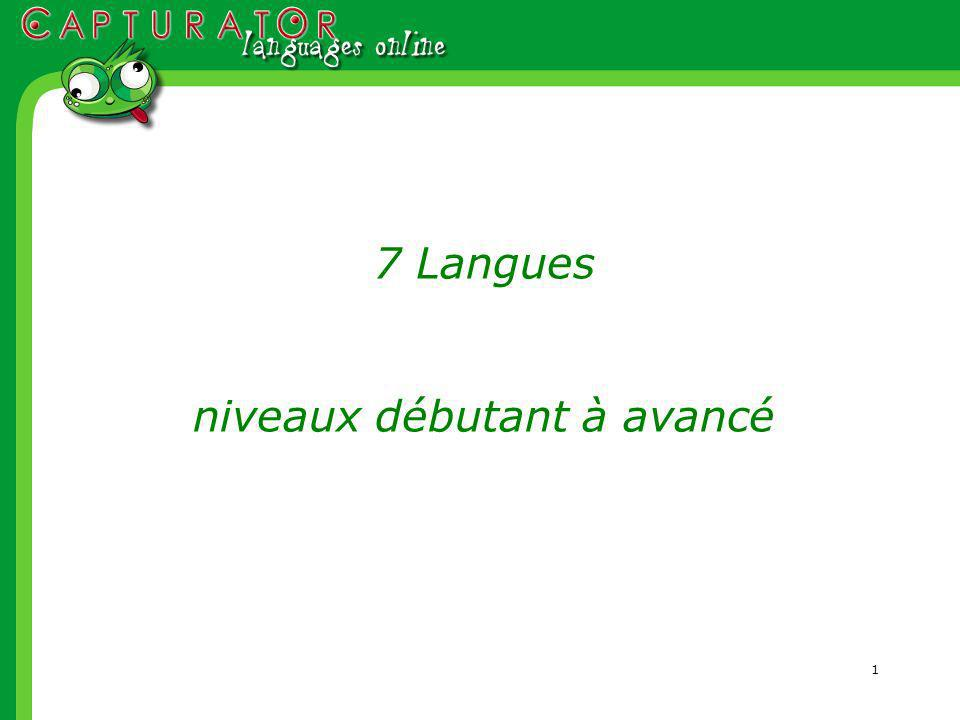 1 7 Langues niveaux débutant à avancé