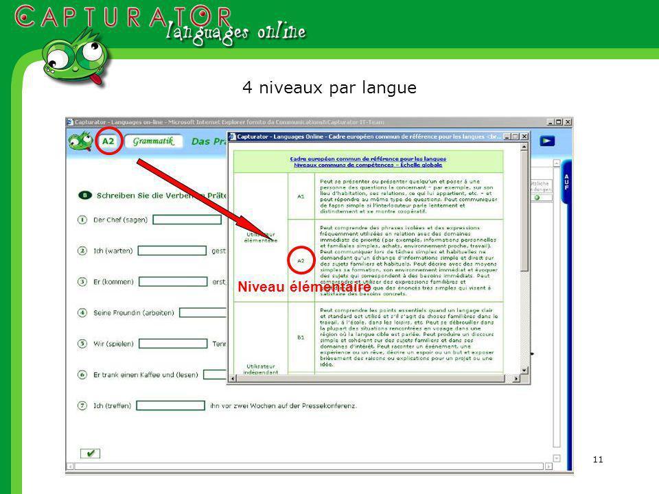 11 Niveau élémentaire 4 niveaux par langue