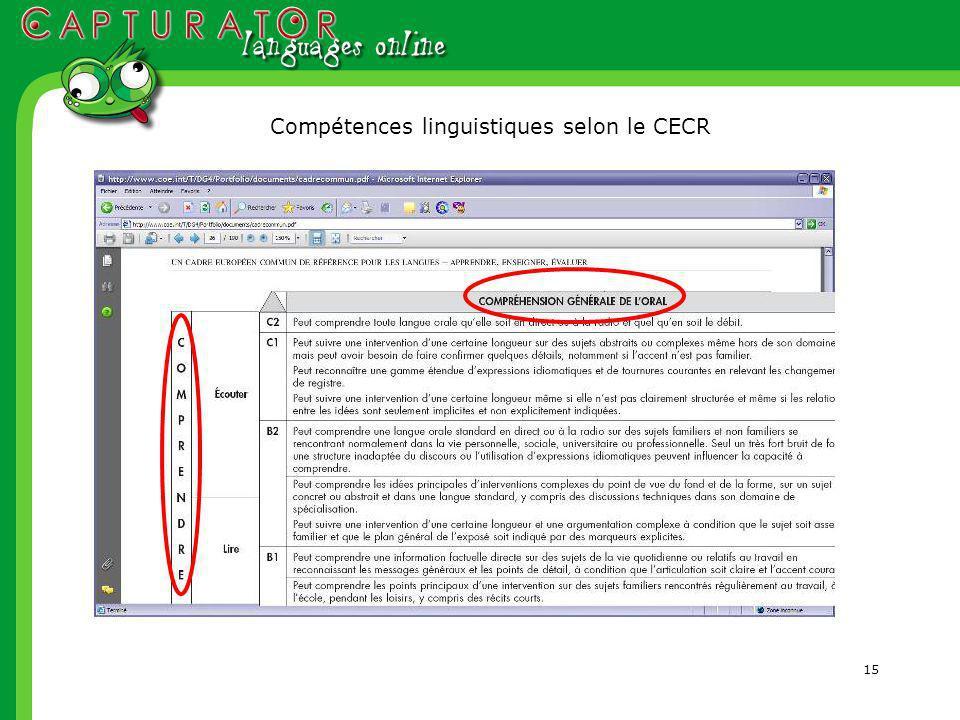 15 Compétences linguistiques selon le CECR