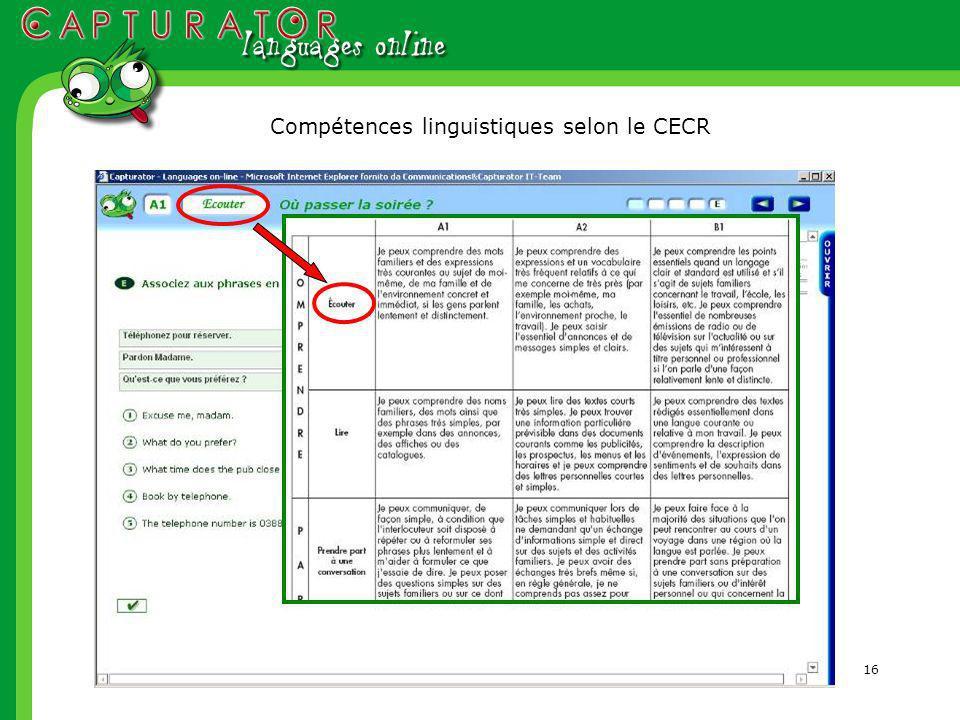 16 Compétences linguistiques selon le CECR