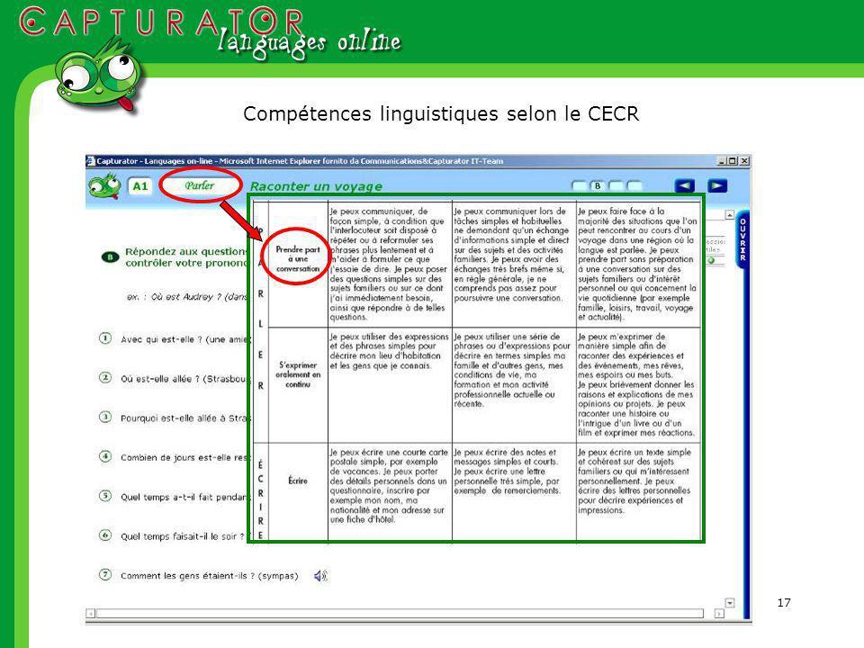 17 Compétences linguistiques selon le CECR