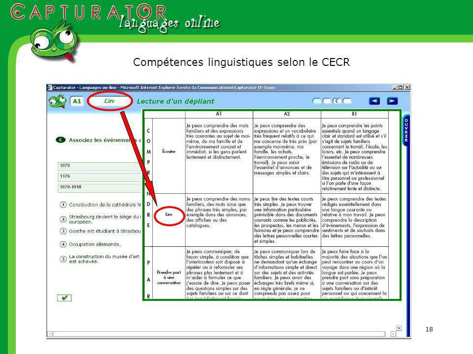 18 Compétences linguistiques selon le CECR