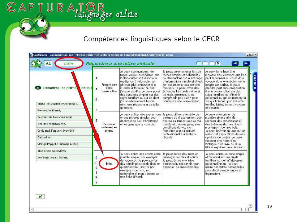 19 Compétences linguistiques selon le CECR