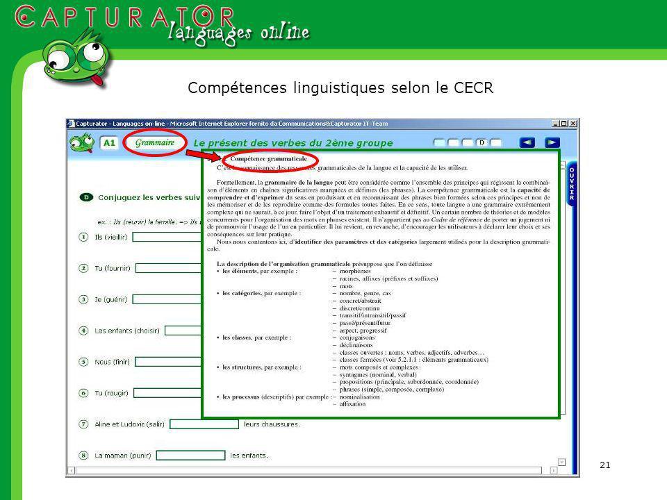 21 Compétences linguistiques selon le CECR