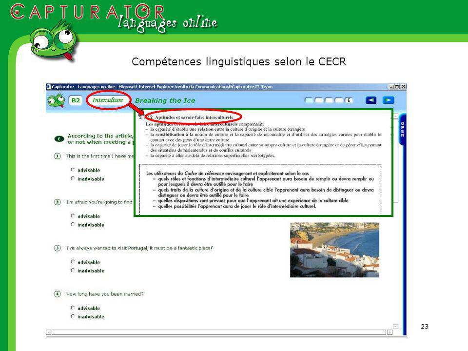 23 Compétences linguistiques selon le CECR