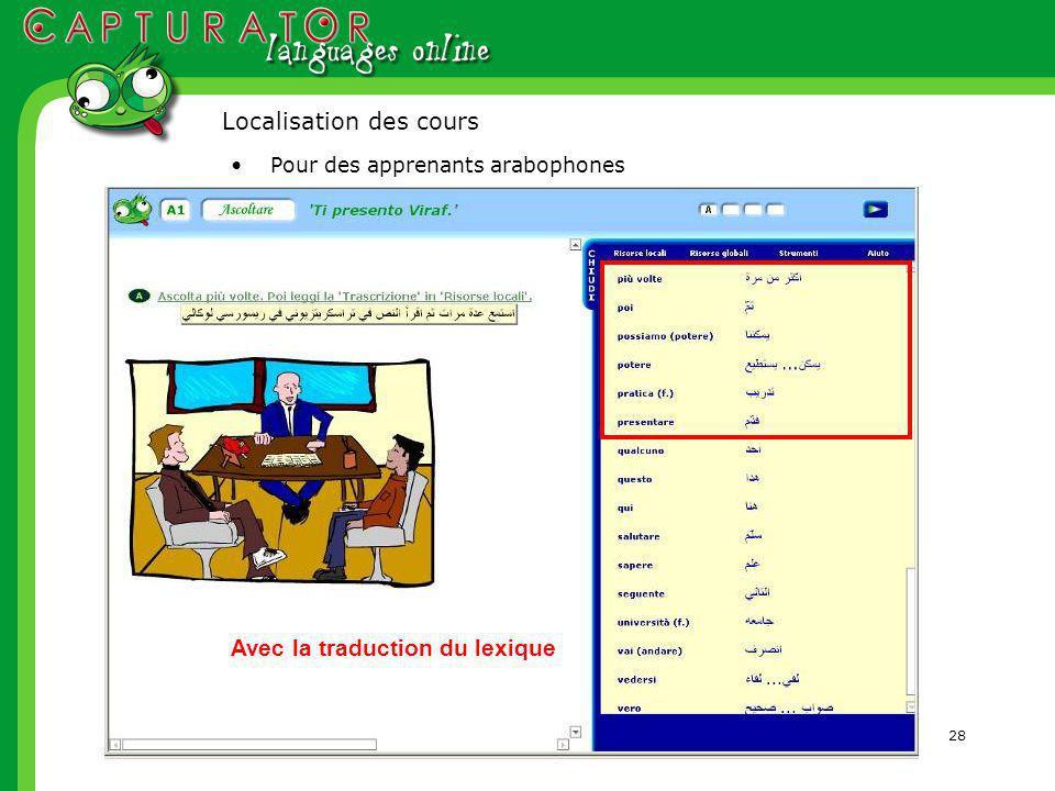 28 Pour des apprenants arabophones Avec la traduction du lexique Localisation des cours