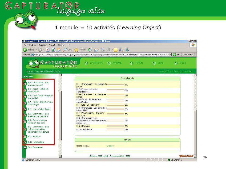 36 1 module = 10 activités (Learning Object)