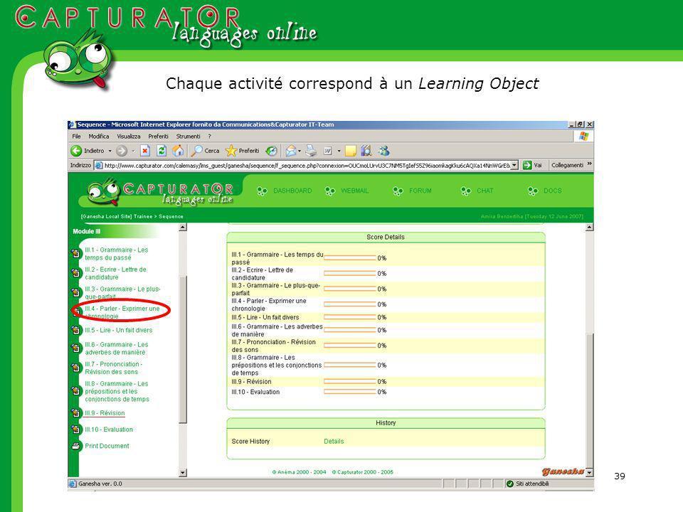 39 Chaque activité correspond à un Learning Object
