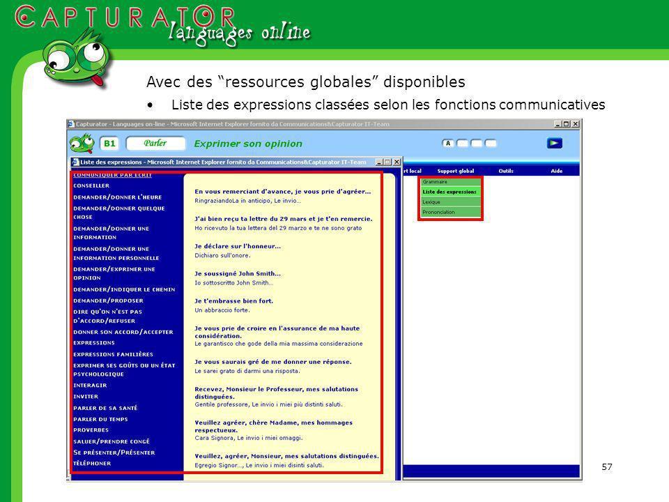 57 Liste des expressions classées selon les fonctions communicatives Avec des ressources globales disponibles