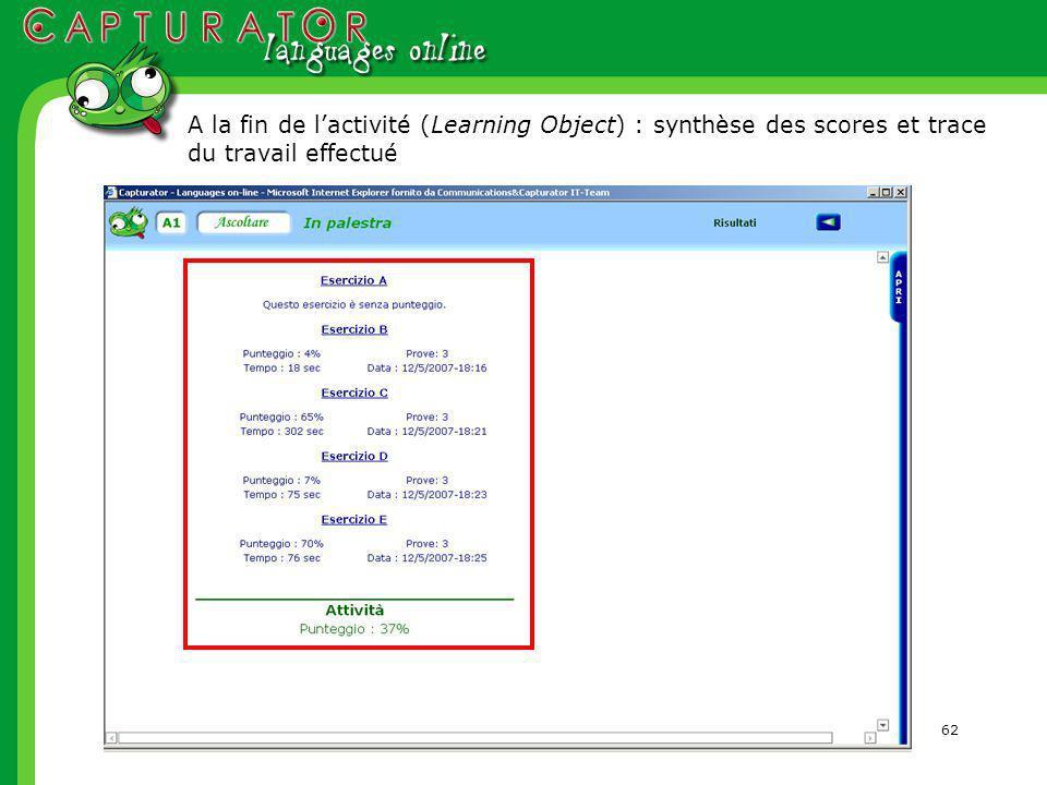 62 A la fin de lactivité (Learning Object) : synthèse des scores et trace du travail effectué