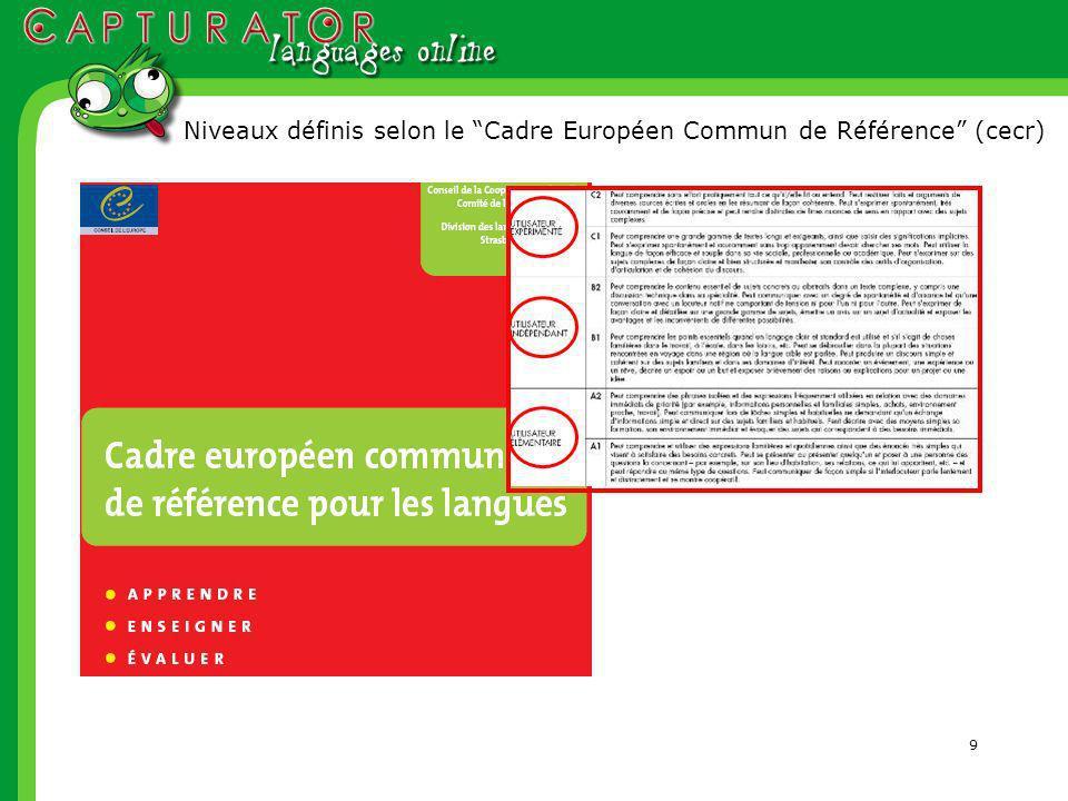 9 Niveaux définis selon le Cadre Européen Commun de Référence (cecr)
