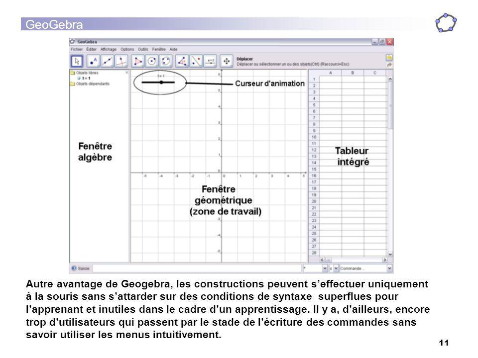 GeoGebra 11 Autre avantage de Geogebra, les constructions peuvent seffectuer uniquement à la souris sans sattarder sur des conditions de syntaxe super