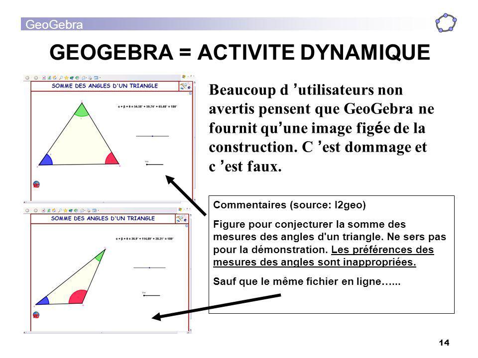 GeoGebra 14 GEOGEBRA = ACTIVITE DYNAMIQUE Beaucoup d utilisateurs non avertis pensent que GeoGebra ne fournit qu une image fig é e de la construction.