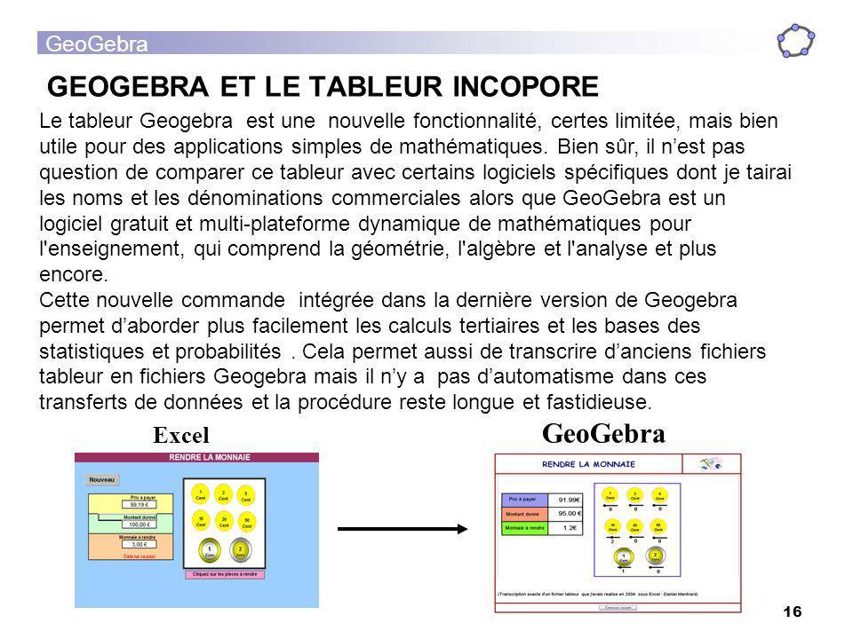 GeoGebra 16 GEOGEBRA ET LE TABLEUR INCOPORE Le tableur Geogebra est une nouvelle fonctionnalité, certes limitée, mais bien utile pour des applications