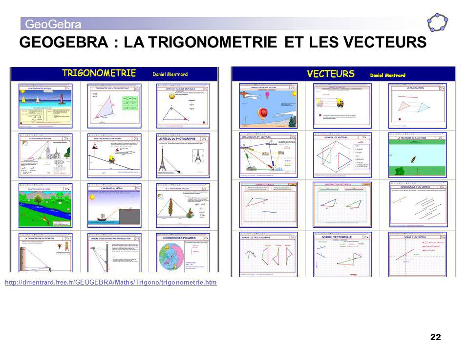 GeoGebra 22 GEOGEBRA : LA TRIGONOMETRIE ET LES VECTEURS http://dmentrard.free.fr/GEOGEBRA/Maths/Trigono/trigonometrie.htm