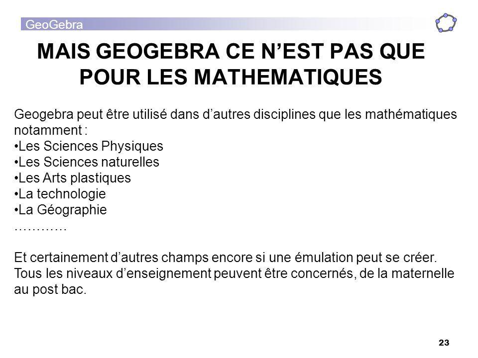 GeoGebra 23 MAIS GEOGEBRA CE NEST PAS QUE POUR LES MATHEMATIQUES Geogebra peut être utilisé dans dautres disciplines que les mathématiques notamment :
