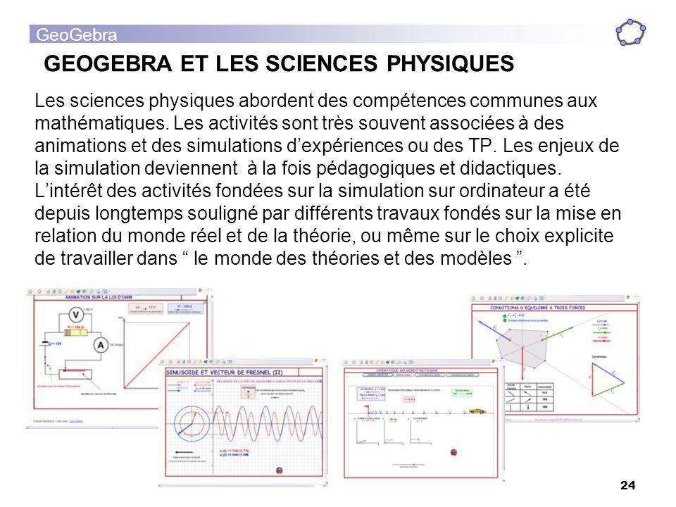 GeoGebra 24 Les sciences physiques abordent des compétences communes aux mathématiques. Les activités sont très souvent associées à des animations et