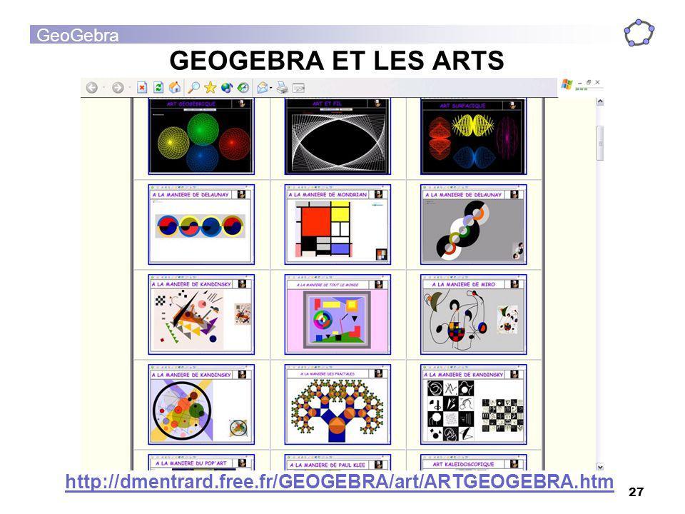 GeoGebra 27 GEOGEBRA ET LES ARTS http://dmentrard.free.fr/GEOGEBRA/art/ARTGEOGEBRA.htm