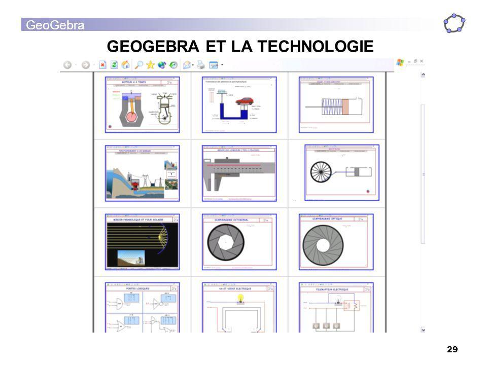 GeoGebra 29 GEOGEBRA ET LA TECHNOLOGIE