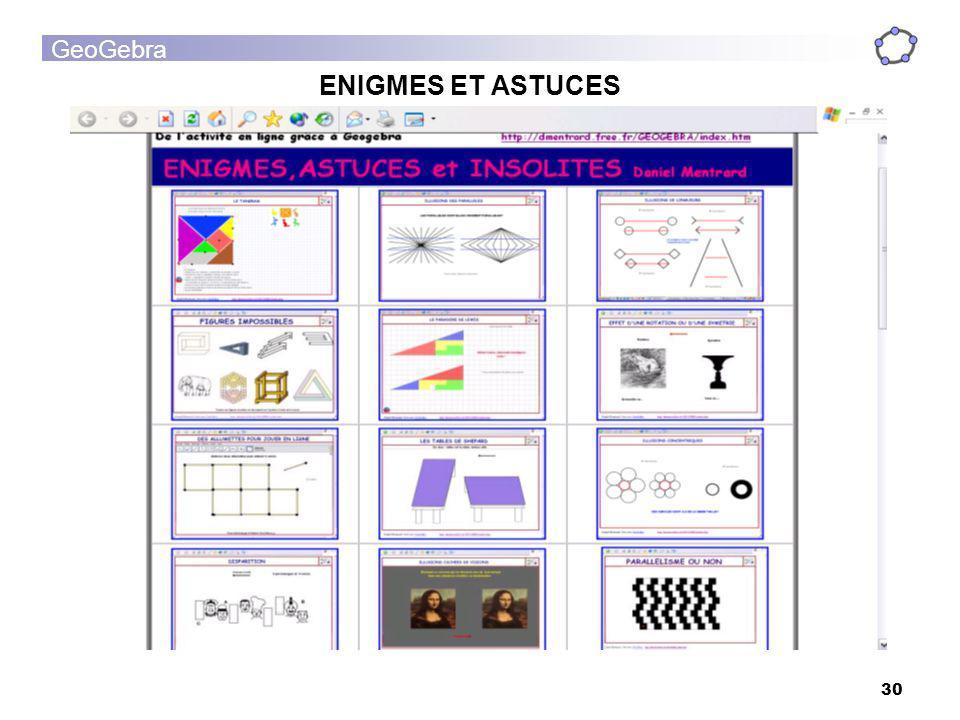 GeoGebra 30 ENIGMES ET ASTUCES