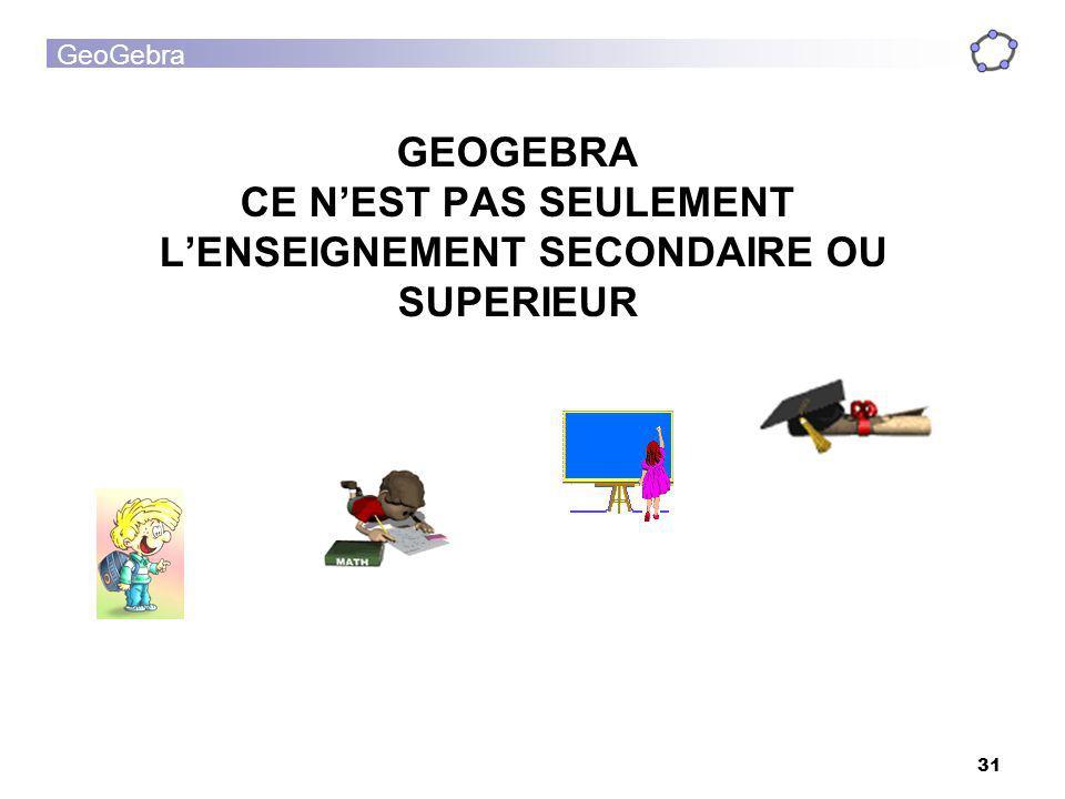 GeoGebra 31 GEOGEBRA CE NEST PAS SEULEMENT LENSEIGNEMENT SECONDAIRE OU SUPERIEUR