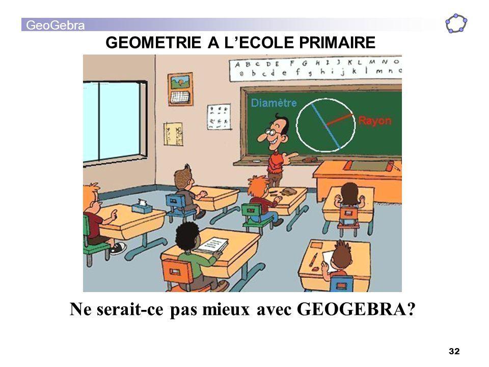 GeoGebra 32 GEOMETRIE A LECOLE PRIMAIRE Ne serait-ce pas mieux avec GEOGEBRA?