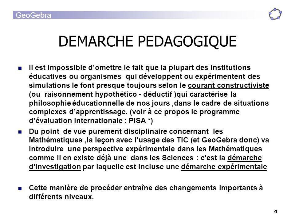 GeoGebra 4 DEMARCHE PEDAGOGIQUE Il est impossible domettre le fait que la plupart des institutions éducatives ou organismes qui développent ou expérim