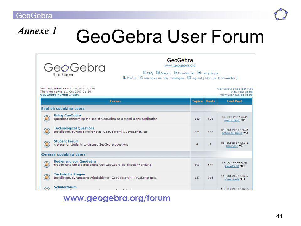 GeoGebra 41 GeoGebra User Forum www.geogebra.org/forum Annexe 1