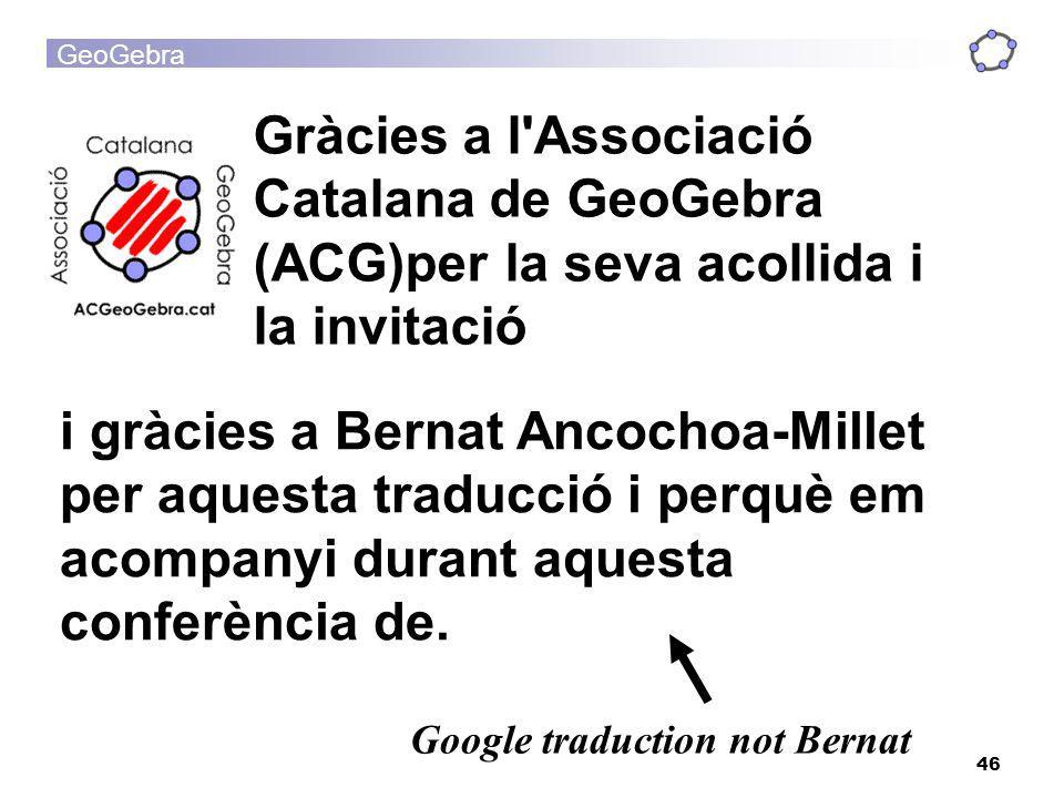 GeoGebra 46 i gràcies a Bernat Ancochoa-Millet per aquesta traducció i perquè em acompanyi durant aquesta conferència de. Google traduction not Bernat