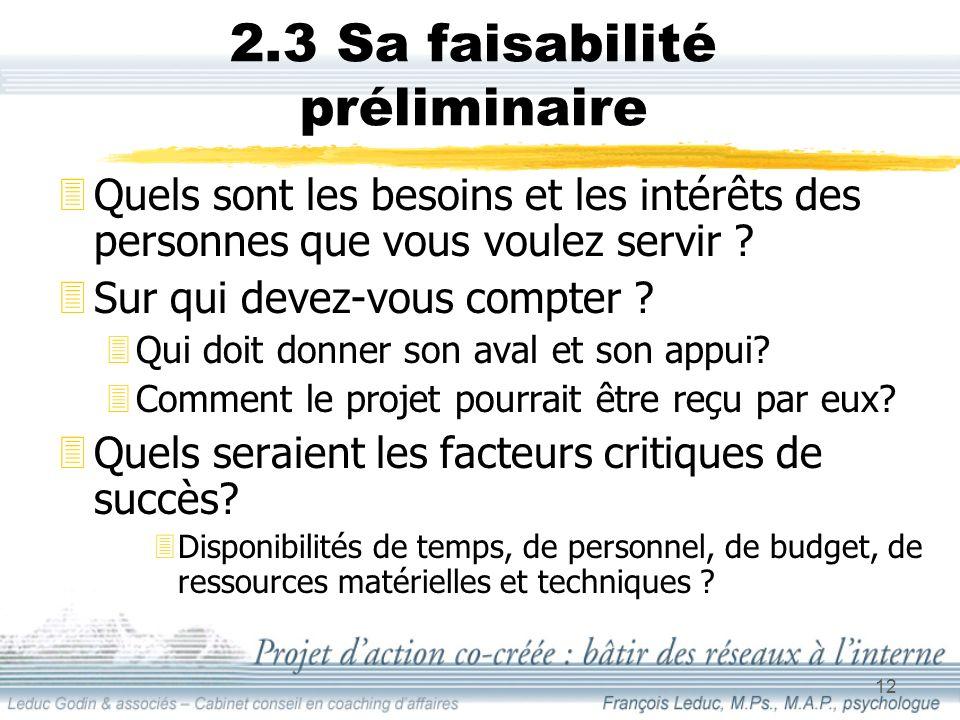 12 2.3 Sa faisabilité préliminaire 3Quels sont les besoins et les intérêts des personnes que vous voulez servir .