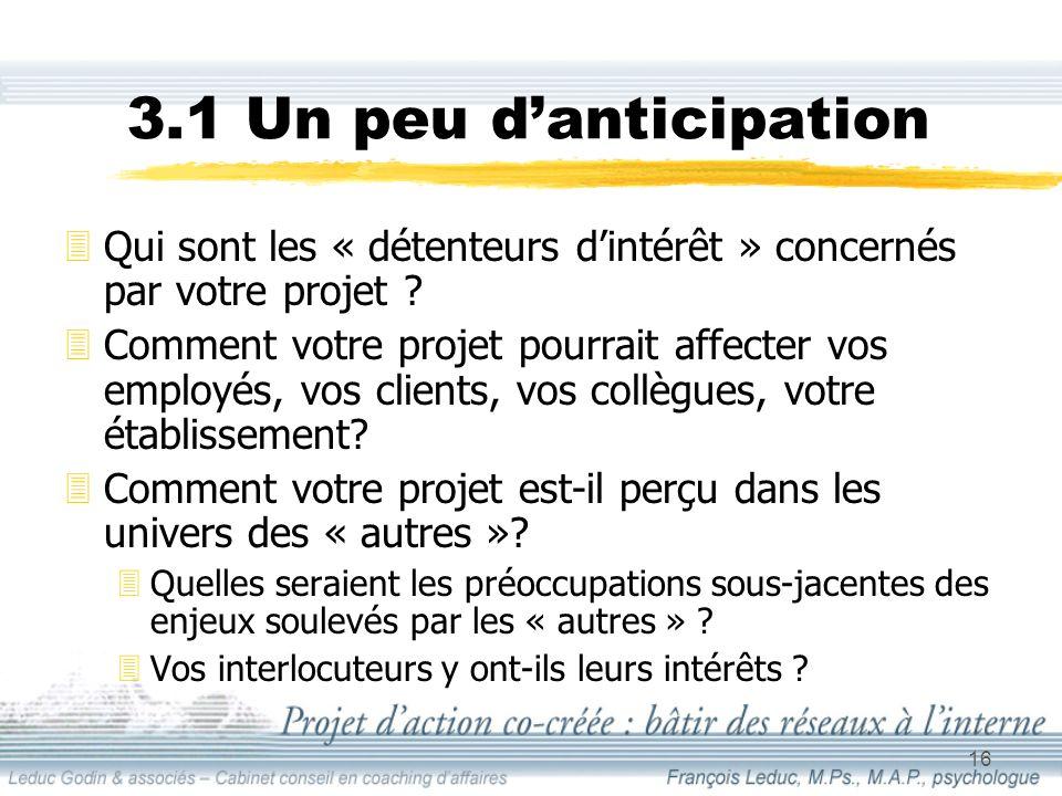 16 3.1 Un peu danticipation 3Qui sont les « détenteurs dintérêt » concernés par votre projet .