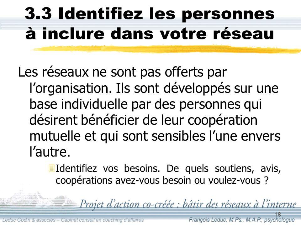 18 3.3 Identifiez les personnes à inclure dans votre réseau Les réseaux ne sont pas offerts par lorganisation.