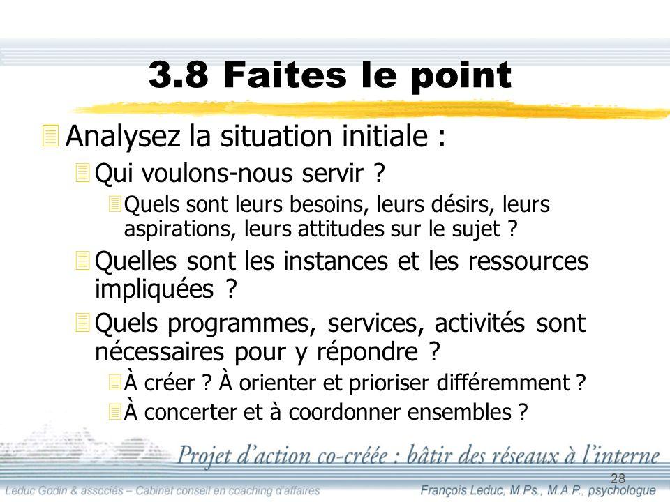 28 3.8 Faites le point 3Analysez la situation initiale : 3Qui voulons-nous servir .