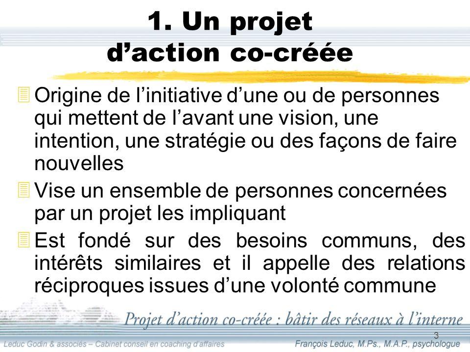 3 1. Un projet daction co-créée Origine de linitiative dune ou de personnes qui mettent de lavant une vision, une intention, une stratégie ou des faço