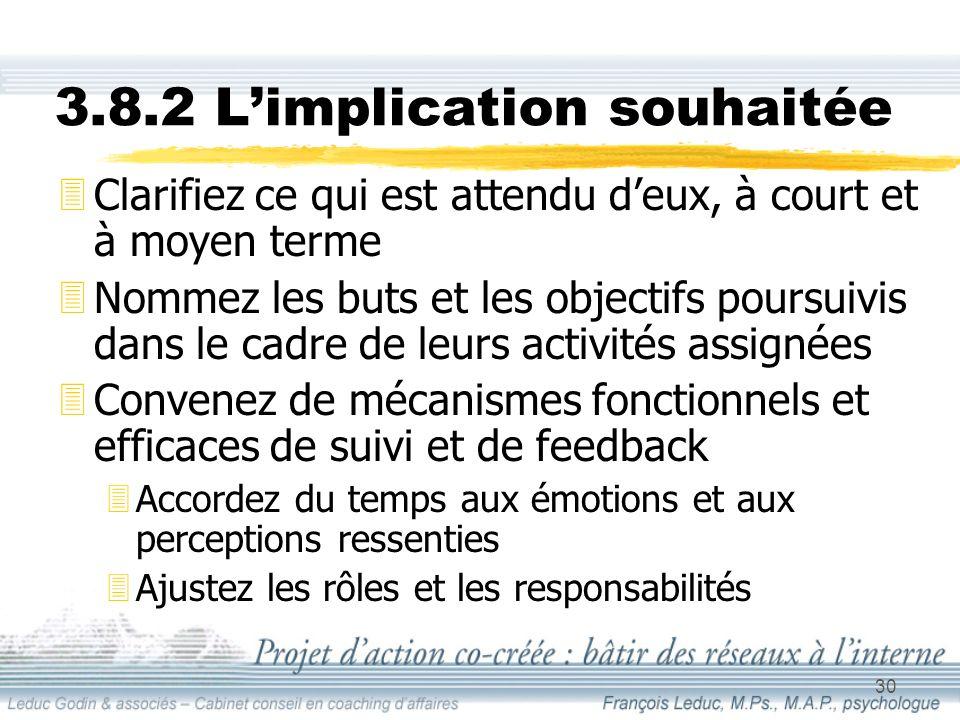 30 3.8.2 Limplication souhaitée 3Clarifiez ce qui est attendu deux, à court et à moyen terme 3Nommez les buts et les objectifs poursuivis dans le cadre de leurs activités assignées 3Convenez de mécanismes fonctionnels et efficaces de suivi et de feedback 3Accordez du temps aux émotions et aux perceptions ressenties 3Ajustez les rôles et les responsabilités