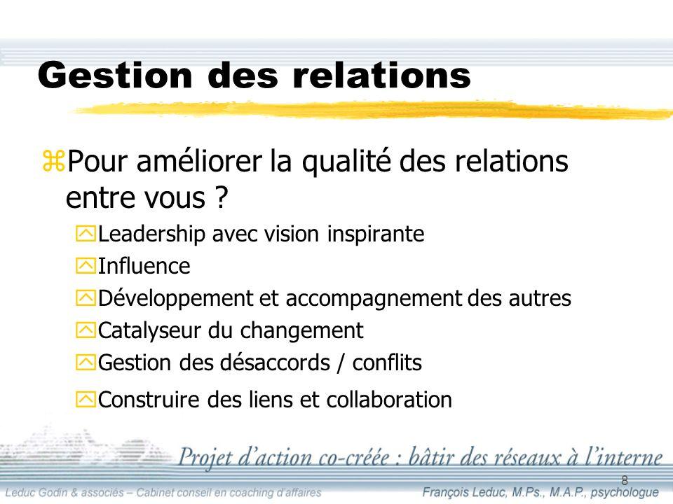 8 Gestion des relations zPour améliorer la qualité des relations entre vous .