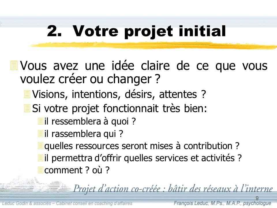 9 2. Votre projet initial 3Vous avez une idée claire de ce que vous voulez créer ou changer .