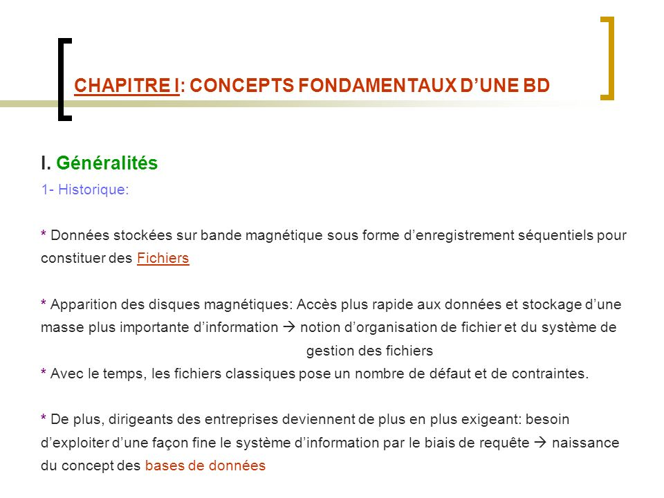 CHAPITRE I: CONCEPTS FONDAMENTAUX DUNE BD Bande magnétique disques magnétiques : 8: 1970-1980 5.25 : 1976 3.5 : créé par Sony en 1981Sony