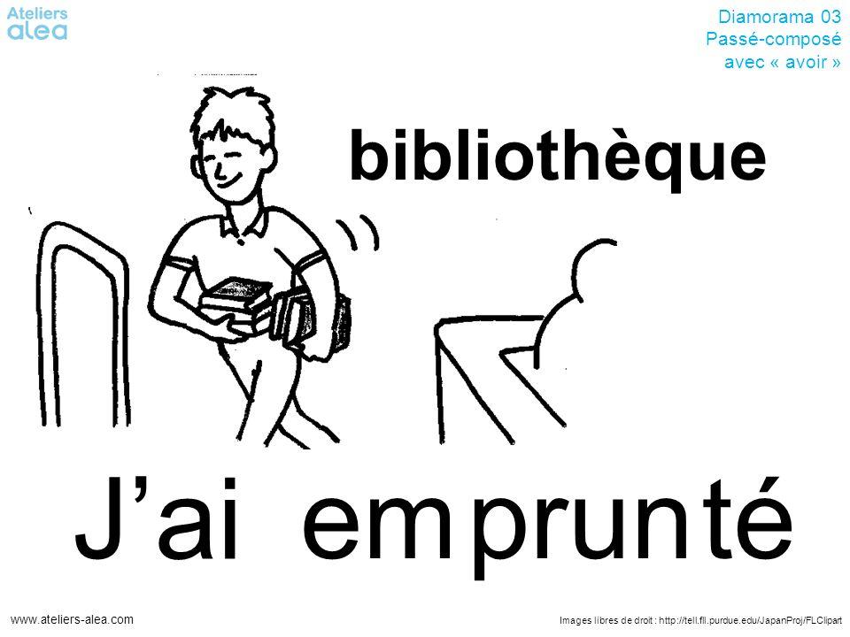 Images libres de droit : http://tell.fll.purdue.edu/JapanProj/FLClipart www.ateliers-alea.com Diamorama 03 Passé-composé avec « avoir » salu Bonjour.