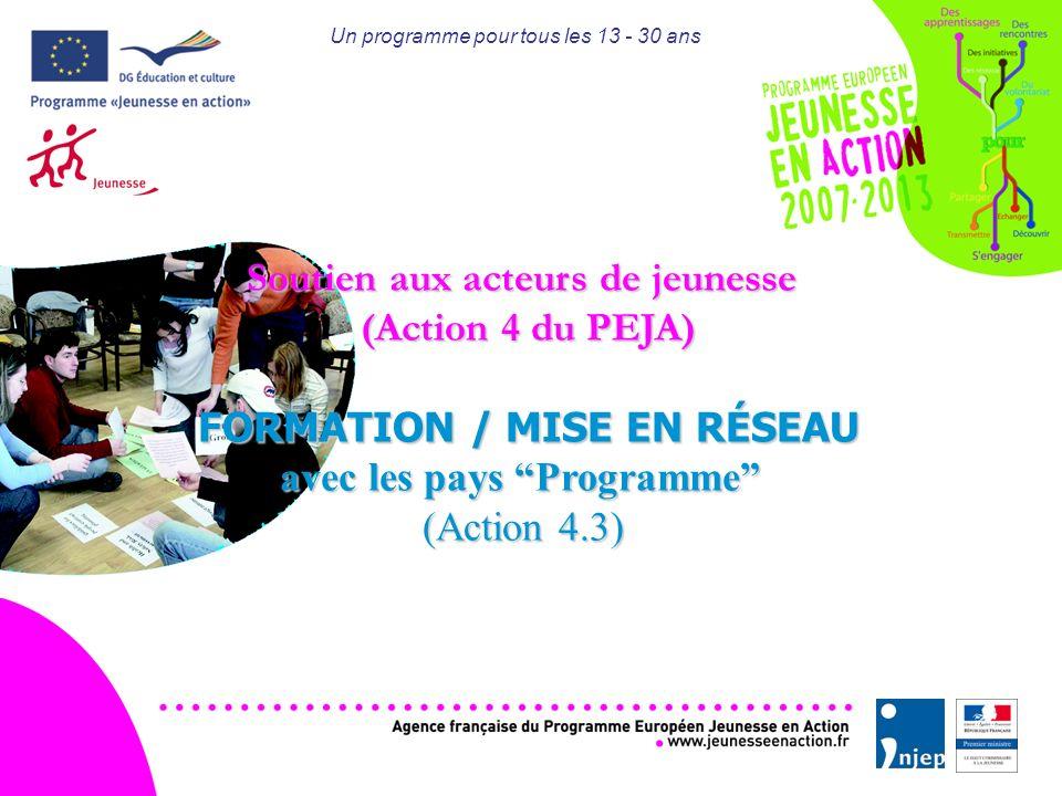 Un programme pour tous les 13 - 30 ans Soutien aux acteurs de jeunesse (Action 4 du PEJA) FORMATION / MISE EN RÉSEAU avec les pays Programme (Action 4.3)