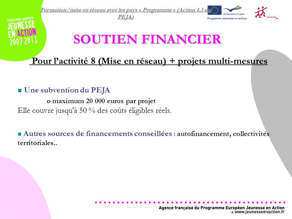 Formation/mise en réseau avec les pays « Programme » (Action 4.3 du PEJA) SOUTIEN FINANCIER Pour lactivité 8 (Mise en réseau) + projets multi-mesures Une subvention du PEJA o maximum 20 000 euros par projet Elle couvre jusqu à 50 % des coûts éligibles réels.