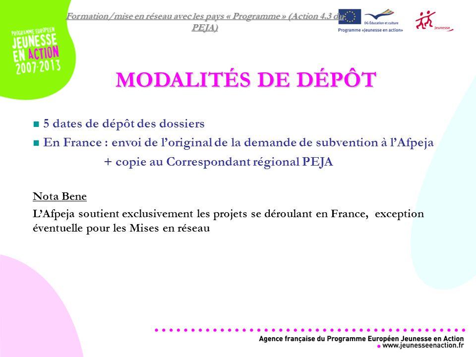 Formation/mise en réseau avec les pays « Programme » (Action 4.3 du PEJA) MODALITÉS DE DÉPÔT 5 dates de dépôt des dossiers En France : envoi de loriginal de la demande de subvention à lAfpeja + copie au Correspondant régional PEJA Nota Bene LAfpeja soutient exclusivement les projets se déroulant en France, exception éventuelle pour les Mises en réseau