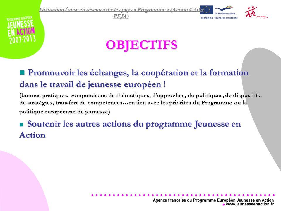 Formation/mise en réseau avec les pays « Programme » (Action 4.3 du PEJA) OBJECTIFS Promouvoir les échanges, la coopération et la formation dans le travail de jeunesse européen .